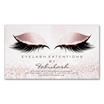 beauty salon pastel glitter adress makeup pink business card magnet