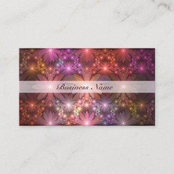 bed of flowers colorful shiny abstract fractal art business card