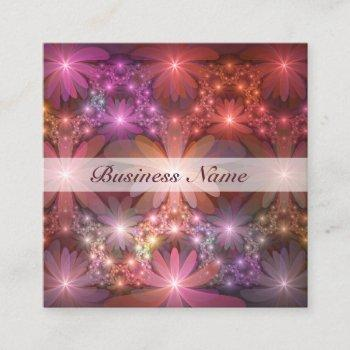 bed of flowers colorful shiny abstract fractal art square business card