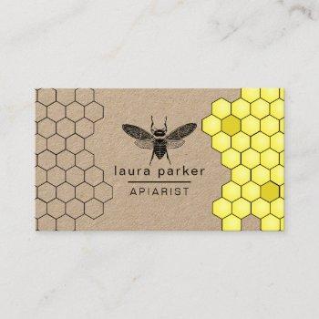 bee honey seller apiarist black yellow hexagon business card
