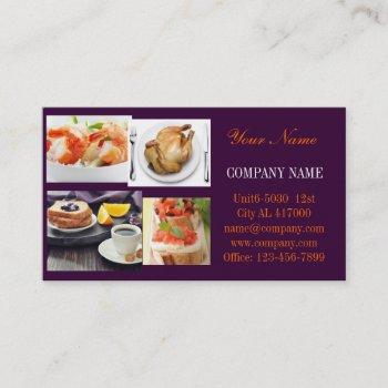 beef burger sandwich chicken private chef catering business card