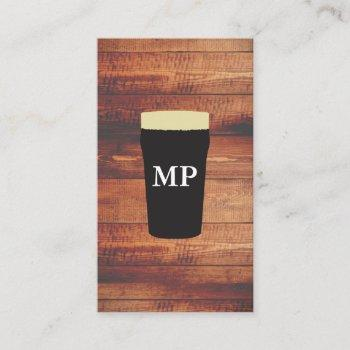 beers rustic wood square element with monogram business card