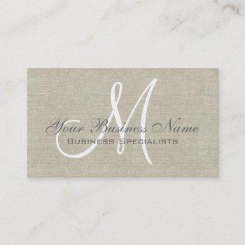 beige linen grey simple plain monogram business card