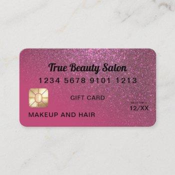 berry pink glitter credit card gift certificate