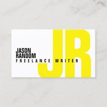 big bold initials cover yellow business card