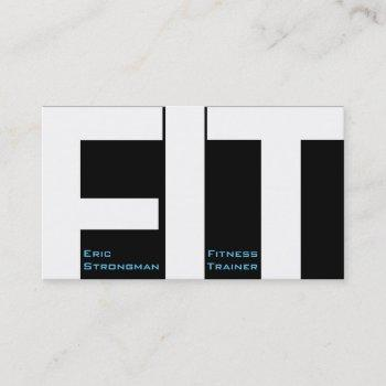 big letters fit fitness trainer modern cover business card