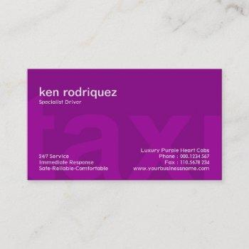 big purple taxi letters simple elegant taxi driver business card