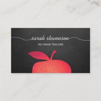 big red apple chalkboard school teacher business card