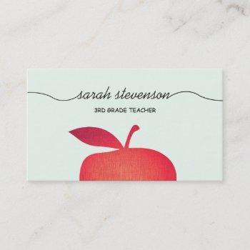 big red apple school teacher light aqua blue business card
