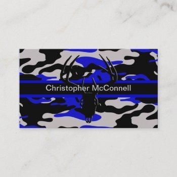 black and blue camo business card