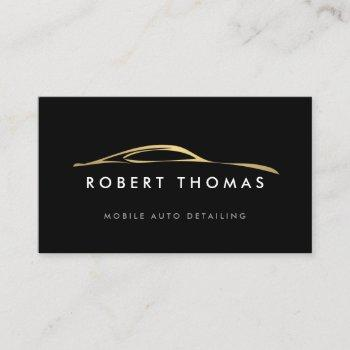 black and gold auto detailing, auto repair logo business card