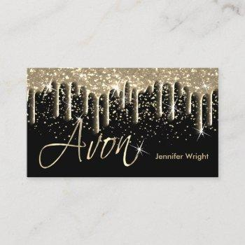 black and gold drip - avon business card