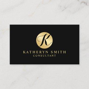black and gold elegant monogram business card