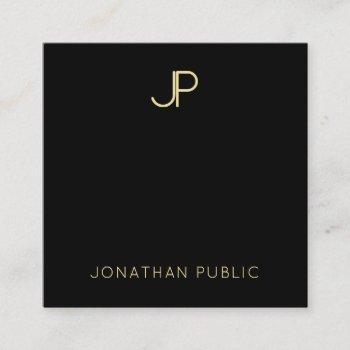 black and gold modern monogram template elegant square business card