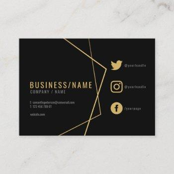 black and gold social media business card