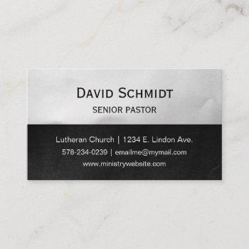 black  and light silver pastor ministry business card