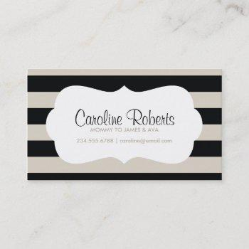 black and linen modern stripes and dots - groupon calling card