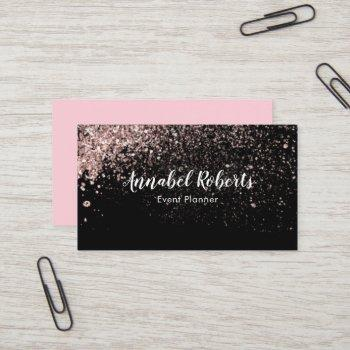 black and pink glitter business card