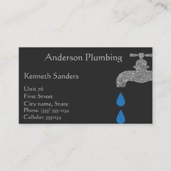 black and silver plumbing and plumbers business card