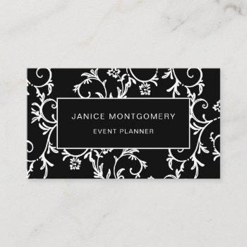 black and white chic floral damask business card
