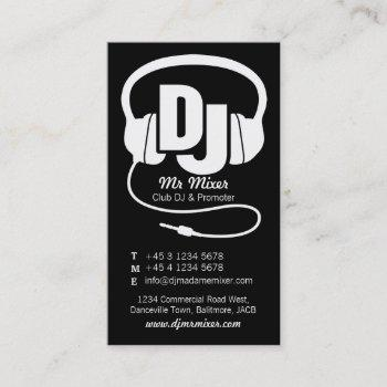 black and white dj promoter business card