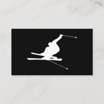 black and white downhill skier business card