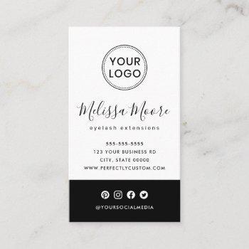 black and white feminine custom logo social media business card