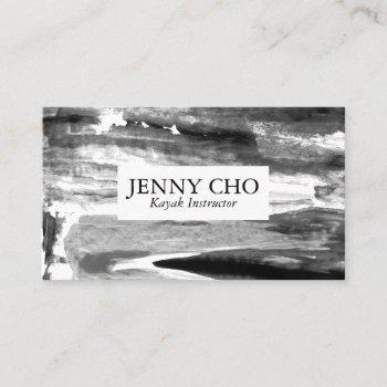 black and white minimalist  paint stripe business card