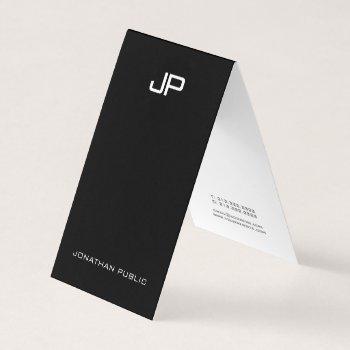 black and white modern monogram elegant minimalist business card