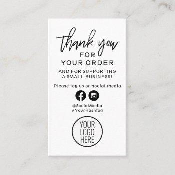 black and white modern thank you for your order business card