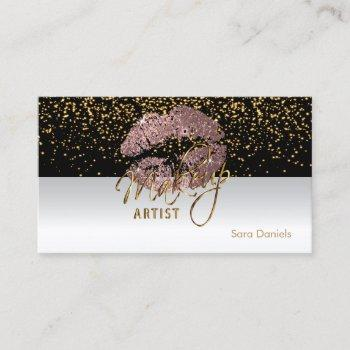 black and white satin dusty rose lips business card