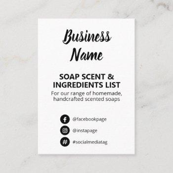 black and white soap scent ingredients list business card