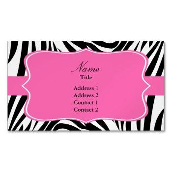 black and white zebra print with hot pink business card magnet