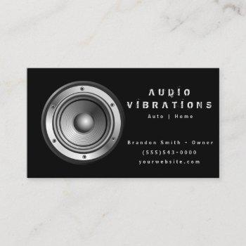 black audio stereo installation business card