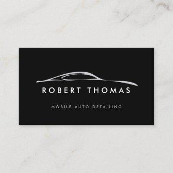 black auto detailing, auto repair logo black business card
