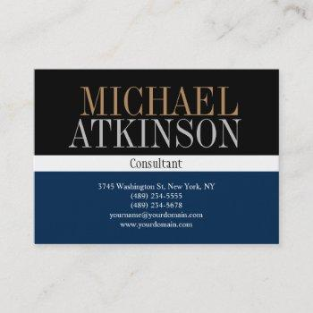 black blue bold text trendy stylish business card