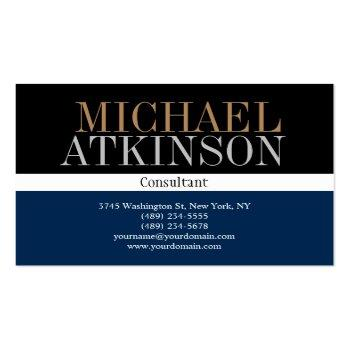 Small Black Blue Bold Text Trendy Stylish Business Card Front View