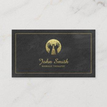 black canvas golden frame, hands massage therapy appointment card