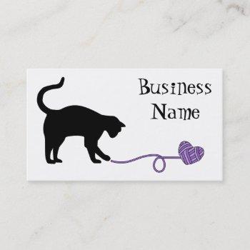 black cat & heart shaped yarn (purple) business card