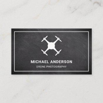 black chalkboard modern drone photography business card