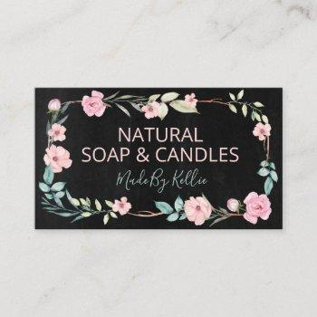 black chalkboard wreath handmade soap and candles business card