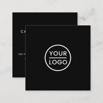 black custom logo, elegant, square, professional square business card