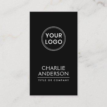 black custom logo vertical modern minimalist business card