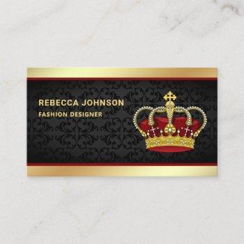 black damask faux gold foil red crown business card
