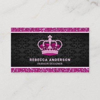 black damask faux hot pink glitter royal crown business card