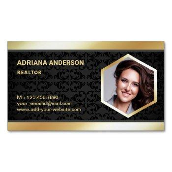 black damask gold foil real estate photo realtor business card magnet