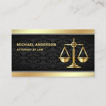 black damask gold justice scale lawyer attorney business card