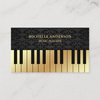black damask gold piano keyboard teacher pianist business card