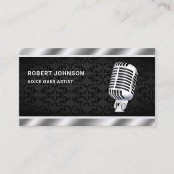 black damask metallic microphone voice over artist business card