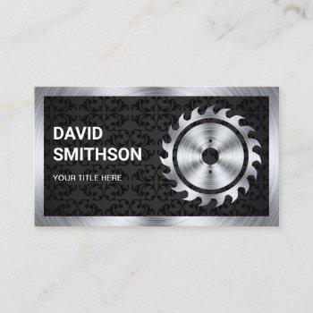 black damask steel circular saw handyman carpenter business card